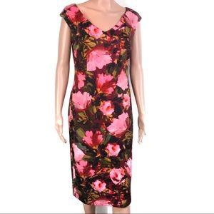 Maggy London Wine/Mrose Floral Dress Brandnew Sz8